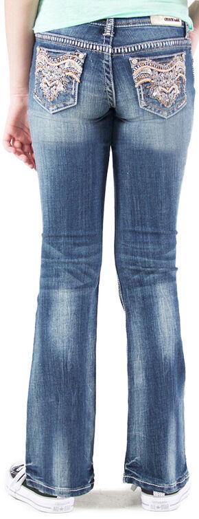 Grace in LA Girls' Medium Wash Embellished Pocket Bootcut Jeans , Indigo, hi-res