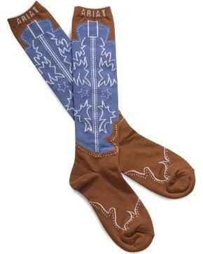 Ariat Western Boot Knee High Socks, Brown, hi-res