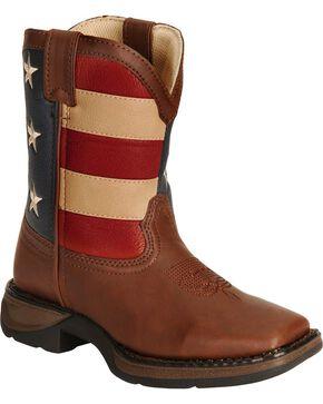 Durango Children's American Flag Lil Flirt Cowboy Boots, Brown, hi-res