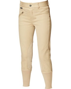 Dublin Kids' Everyday Adjustable Waist Euro Seat Front-Zip Breeches, Beige, hi-res