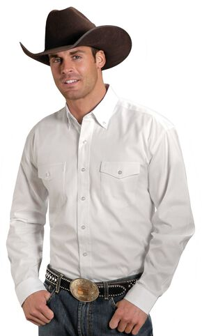 Stetson Solid Button Oxford Shirt - Tall, White, hi-res
