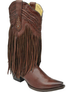 Corral Chocolate Brown Fringe and Whip Stitch Cowgirl Boots - Snip Toe , , hi-res
