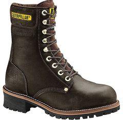 Caterpillar Black Logger Boots - Steel Toe, , hi-res