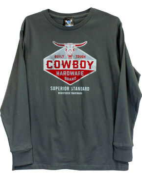 Cowboy Hardware Boys' Built Tough Long Sleeve Tee, Grey, hi-res