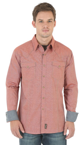Wrangler Retro Men's Rust Western Shirt , Rust, hi-res