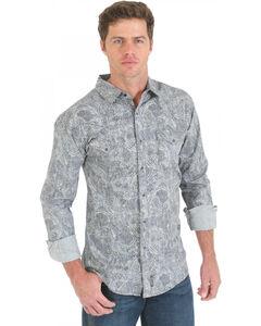 Wrangler Retro Grey and Black Paisley Print Long Sleeve Shirt, , hi-res