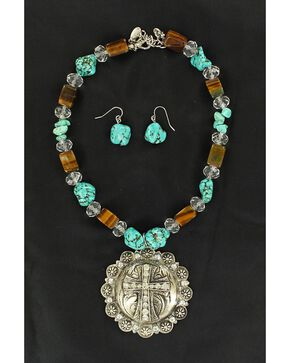 Blazin Roxx Fancy Concho & Faux Turquoise Beaded Necklace & Earrings Set, Multi, hi-res