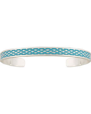 Montana Silversmiths Women's CrossCut Turquoise Narrow Cuff Bracelet, Silver, hi-res