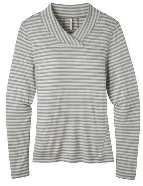 Mountain Khakis Women's Rendezvous Micro Wrap Neck Stripe Shirt, Grey, hi-res