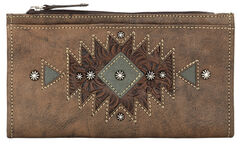 American West Women's Distressed Brown Foldover Snap Closure Wallet , , hi-res