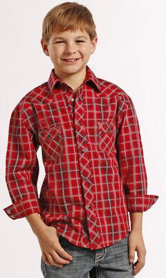 Rock and Roll Cowboy Boys' Red Plaid Snap Western Shirt , , hi-res