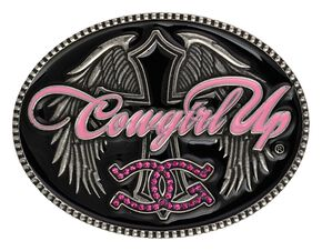 Montana Silversmiths Cowgirl Up Winged Cross Belt Buckle, Silver, hi-res