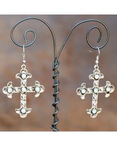 West & Co. Silver Crystal Maltese Cross Earrings, , hi-res
