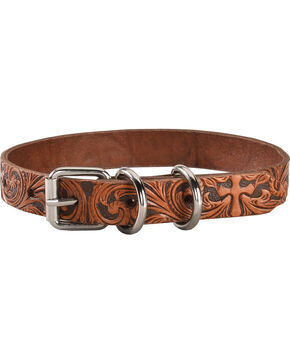 Double Barrel Tooled Cross Leather Dog Collar - S-XL, Tan, hi-res