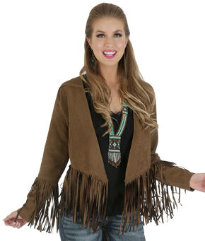 Wrangler Women's Suede Fringe Sleeve Jacket , Tan, hi-res