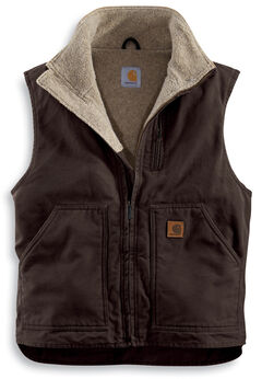 Carhartt Sherpa Lined Sandstone Duck Work Vest - Big & Tall, , hi-res