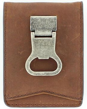 Nocona Money Clip Bi-Fold Wallet, Med Brown, hi-res
