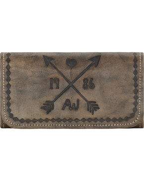 American West Cross My Heart Rustic Brown Ladies Tri-Fold Wallet , Rustic Brn, hi-res