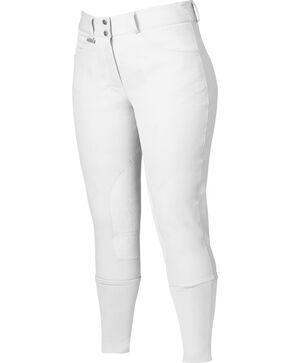 Dublin Active Shapely Euro Seat Front Zip Breeches - White, White, hi-res