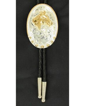 Fancy Engraved Gold-tone Horse Head Bolo Tie, Multi, hi-res