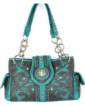 Savana Dark Grey Floral Filigree Conceal Carry Handbag, Dark Grey, hi-res