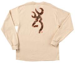 Browning Men's Natural Tan Realtree Buckmark Long Sleeve T-Shirt , , hi-res