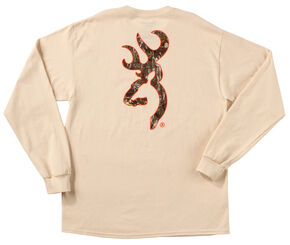Browning Men's Natural Tan Realtree Buckmark Long Sleeve T-Shirt , Natural, hi-res