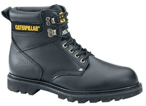 "Caterpillar 6"" Second Shift Lace-Up Work Boots - Steel Toe, Black, hi-res"