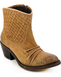 Circle G Distressed Woven Short Boots - Round Toe, , hi-res