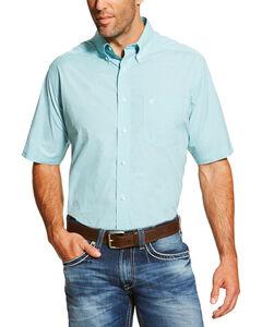 Ariat Men's Aqua Finnegan Short Sleeve Performance Shirt , Aqua, hi-res
