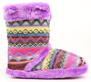 Blazin Roxx Women's Muli Color Woven Slipper Booties, Purple, hi-res