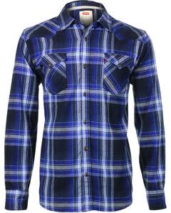 Levi's Men's Long Sleeve Flannel Plaid Shirt, Blue, hi-res
