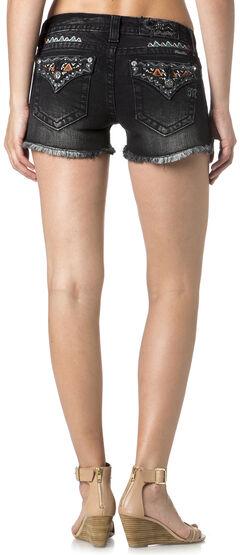 Miss Me Women's Embroidered Flap Pocket Black Denim Shorts, , hi-res