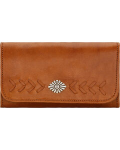 American West Mohave Canyon Ladies' Golden Tan Tri-Fold Wallet, , hi-res