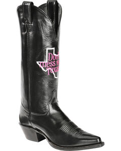 "Justin ""Don't Mess with Texas"" Calfskin Cowgirl Boots - Pointed Toe, , hi-res"