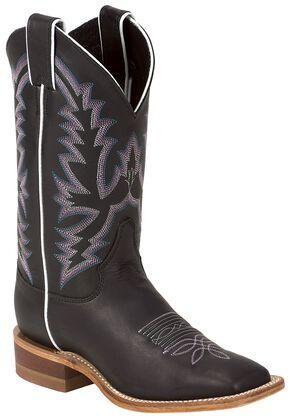 Justin Bent Rail Burnished Calf Cowgirl Boots - Square Toe, Black, hi-res