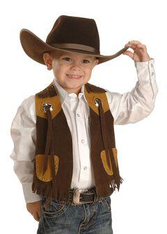 M & F Western Boys' Brown Faux Suede Cowboy Vest, , hi-res