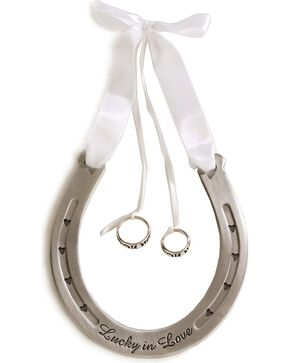 Western Wedding Ring Bearer Horseshoe, White, hi-res