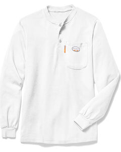 Rasco Men's White FR Henley T-Shirt - Big , White, hi-res