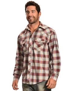 Crazy Cowboy Men's Red Ombre Plaid Snap Shirt, , hi-res