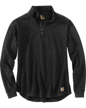 Carhartt Men's Tilden Long Sleeve Mock Neck Quarter Zip Sweatshirt, Black, hi-res