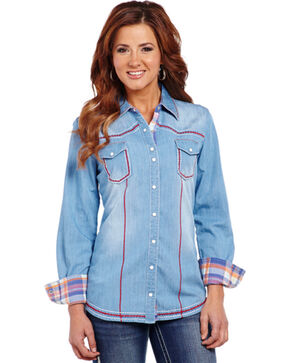 Cowgirl Up Stonewashed Long Sleeve Woven Shirt, Blue, hi-res