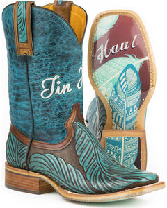 Tin Haul Women's Tribal Feathers Cowgirl Boots - Square Toe, , hi-res