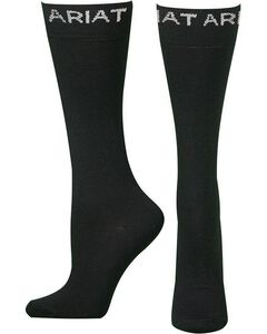 Ariat Men's Thin Black Boot Socks, , hi-res