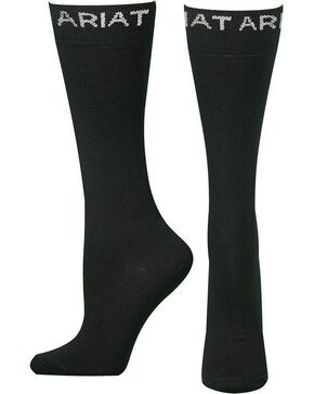 Ariat Men's Thin Black Boot Socks, Black, hi-res