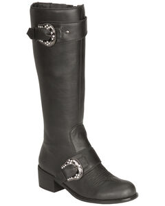 Roper Faux Leather Bling Buckle Harness Riding Boots - Round Toe, , hi-res