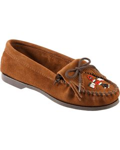 Minnetonka Suede Thunderbird Moccasins - Boat Sole, , hi-res