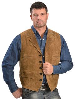 Vintage Leather Suede Front Lapel Vest, Brown, hi-res