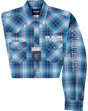 Wrangler Men's Blue Ram Logo Long Sleeve Plaid Shirt, Blue, hi-res