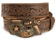Justin Trigger Happy Buckle Leather Belt - Reg & Big, , hi-res